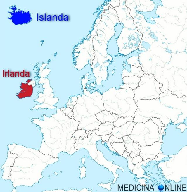 MEDICINA ONLINE MAP MAPPA EUROPA STATI NAZIONI IRLANDA EIRE IRELAND ISLANDA ISLAND DIFFERENT DIFFERENZE ISOLA IRLANDA DEL NORD NORTH