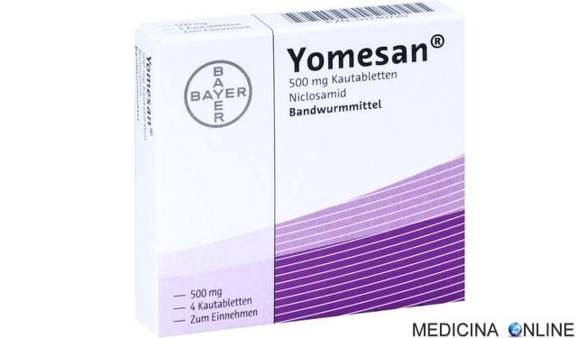 MEDICINA ONLINE Yomesan (niclosamide) 500 mg compresse masticabili, foglio illustrativo confezione.jpg
