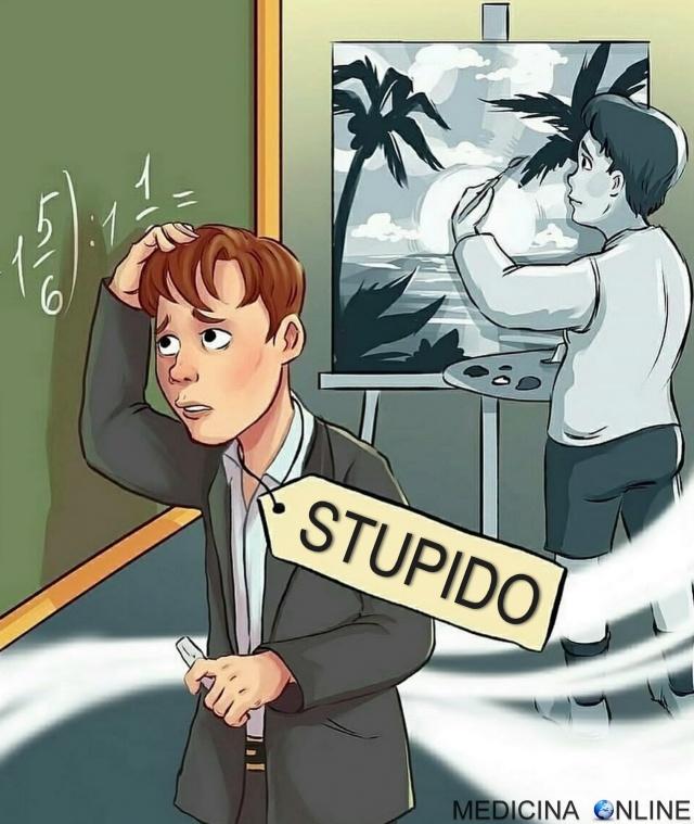 MEDICINA ONLINE STUDENTE STUPIDO Ognuno è un genio. Ma se si giudica un pesce dalla sua abilità di arrampicarsi sugli alberi, lui passerà tutta la sua vita a credersi stupido Albert Einstein.jpg