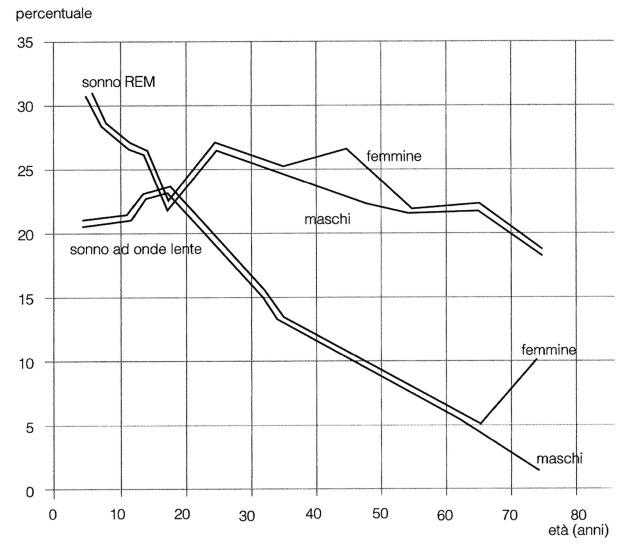 MEDICINA ONLINE Percentuale di sonno REM e di sonno ad onde lente al variare dell'età.